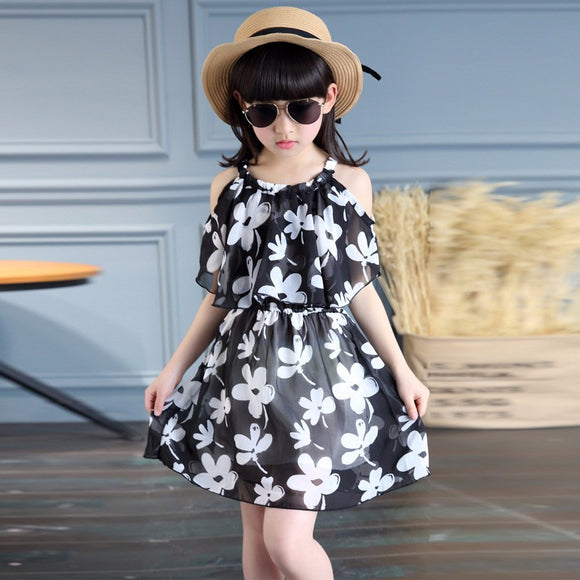 HAWK 2017 SUMMER DRESS FOR GIRLS CHIFFON CASUAL CHILDREN S CLOTHING WITH  ROUND NECK DRESSES WITH FLORAL 12d59751c983