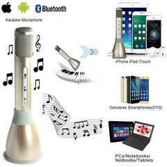 BLUETOOTH HANDHELD WIRELESS MICROPHONES FOR KARAOKE SINGING - for all Smart Phones