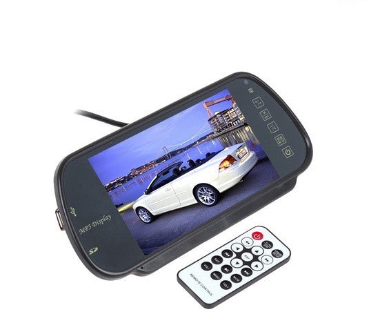 "High Resolution 7"" Color TFT LCD Rearview Mirror Set + 4 Parking Sensors + Camera - Qtopdeals - 1"