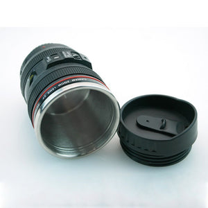 CREATIVE CAMERA LENS SELF STIRRING COFFEE CUP MUGS STAINLESS STEEL DOUBLE  INSULATED SMART MIXING COFFEE TEA