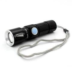 MINI USB RECHARGEABLE LED FLASHLIGHT TORCH ADJUSTABLE FOCUS ZOOMABLE ALUMINIUM ALLOY PORTABLE RECHARGEABLE LIGHT LAMP