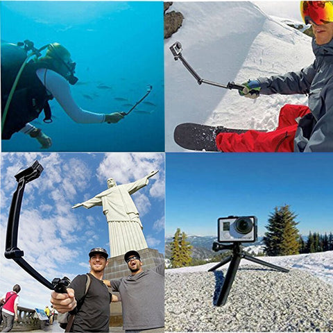 3 Way Monopod Adjustable Selfie Stick for all Smart Phones - Hawk Camera Tripod Mount Accessories with Extension Arm Hand Grip Pole - Qtopdeals - 1