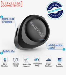 Promate Vibe Ultra Small Wireless Bluetooth Headset Earphone Earbud for Apple, Samsung, LG, HTC - Black
