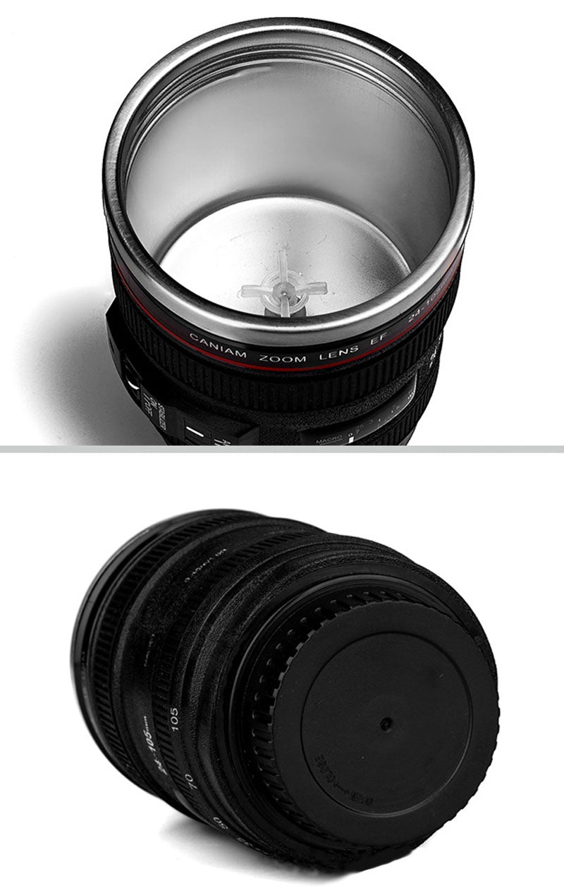 ... CREATIVE CAMERA LENS SELF STIRRING COFFEE CUP MUGS STAINLESS STEEL  DOUBLE INSULATED SMART MIXING COFFEE TEA ...