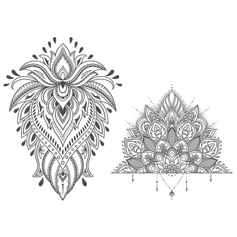 Temporary tattoo - Ornamental Lotus - Pack - ArtWear Tattoo - Fake tattoo