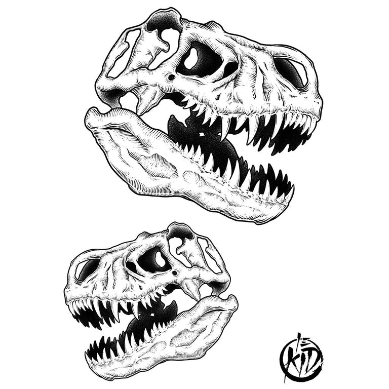 Temporary tattoo - T-Rex Skull Pack - by Le Kid - ArtWear Tattoo - Fake tattoo