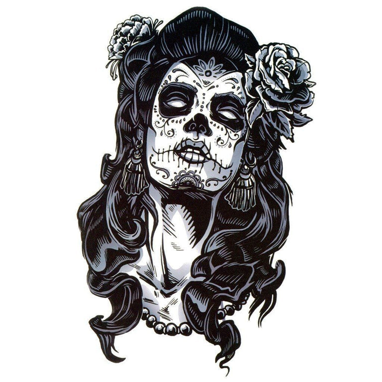Temporary tattoo - 50's Santa Muerte - ArtWear Tattoo - Fake tattoo