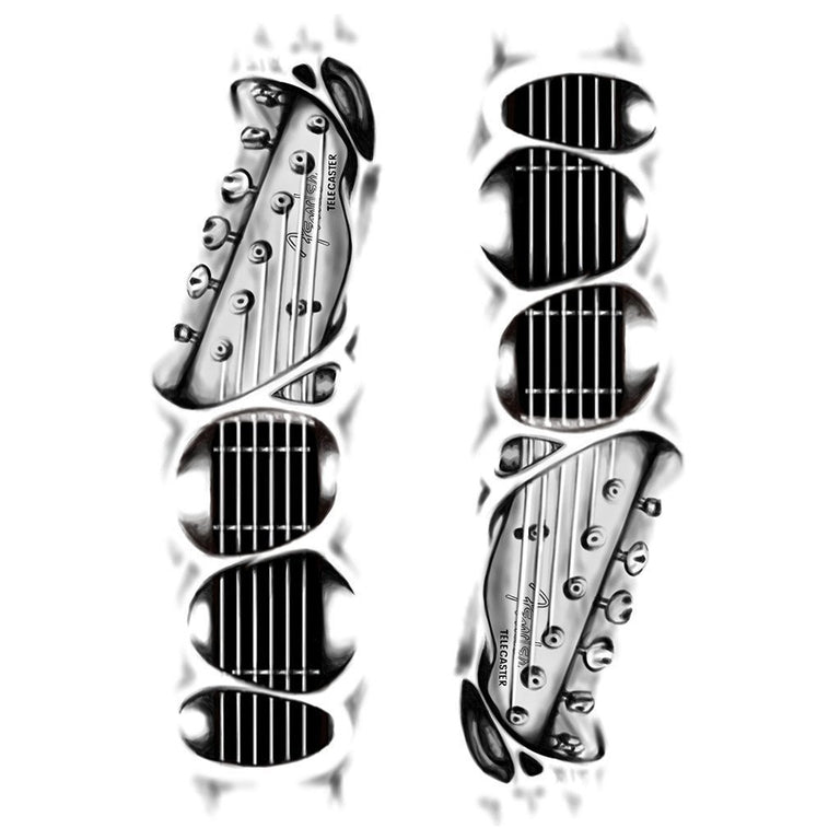 Temporary tattoo - Guitar 3D - Pack - ArtWear Tattoo - Fake tattoo