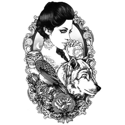 Temporary tattoo - Woman Wolf B&W - ArtWear Tattoo - Fake tattoo