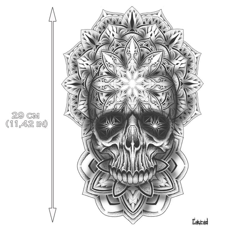 Temporary tattoo - Large Skull Mandala by CASCAD - ArtWear Tattoo - Fake tattoo