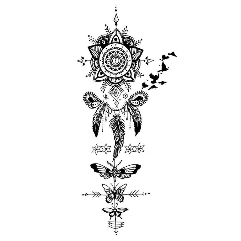 Temporary tattoo - Black Dreamcatcher, Birds & Butterflies - Pack - ArtWear Tattoo - Fake tattoo