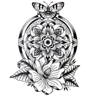 Temporary tattoo - Dotwork Mandala Flower & Butterfly - ArtWear Tattoo - Fake tattoo