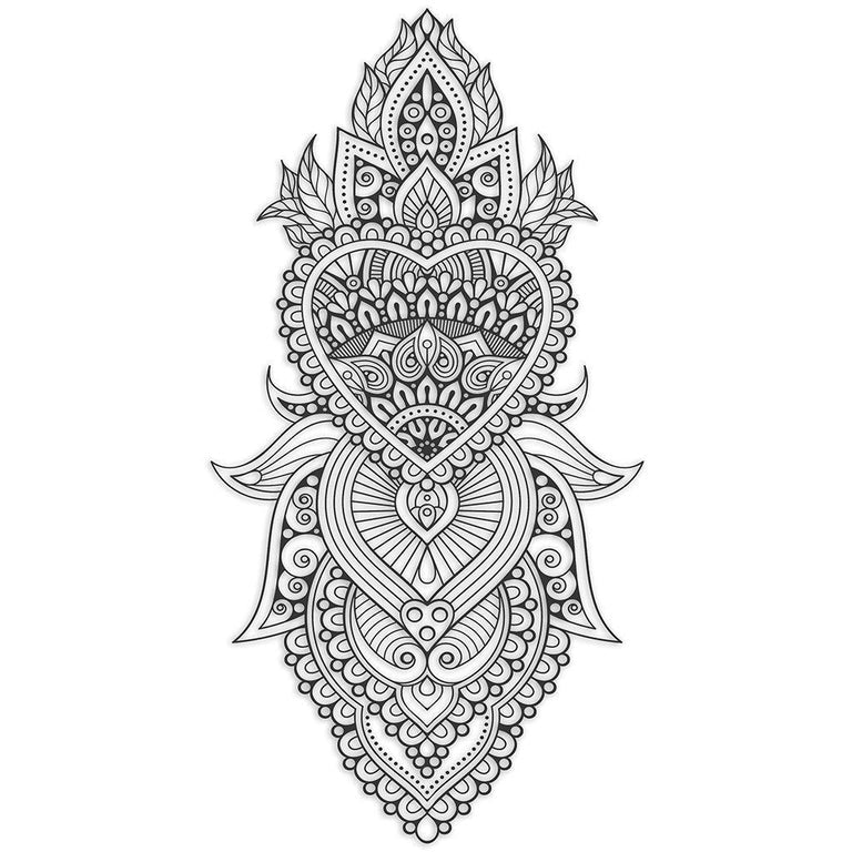 Temporary tattoo - Large Ornamental Heart Design - ArtWear Tattoo - Fake tattoo