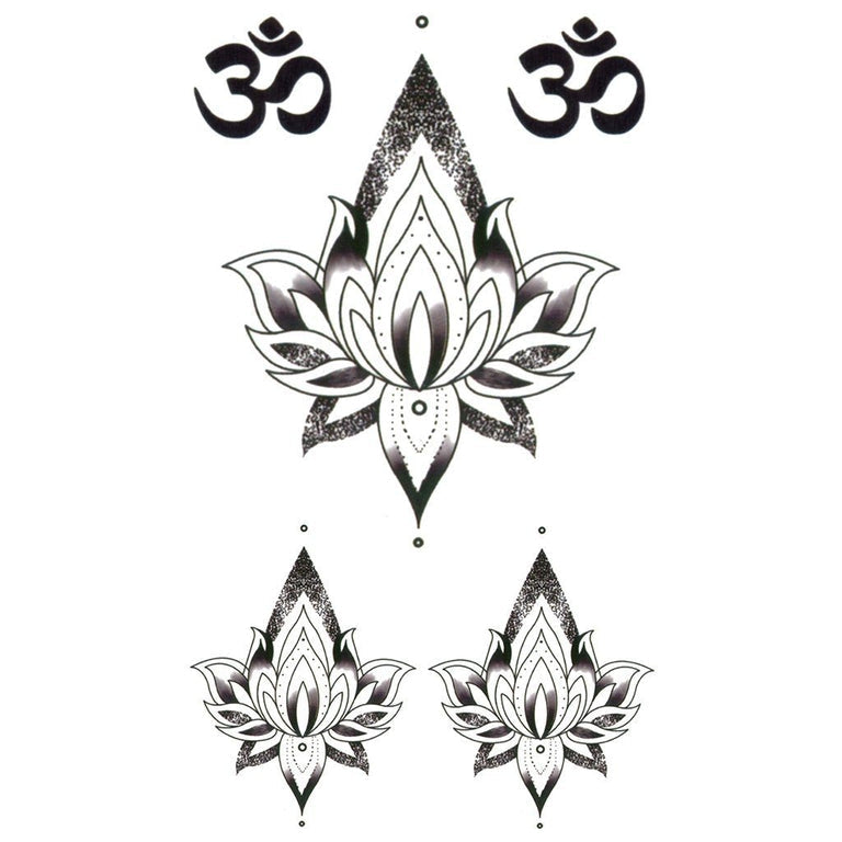Temporary tattoo - Small Om Lotus - Pack - ArtWear Tattoo - Fake tattoo