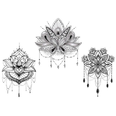 Temporary tattoo - The 3 Lotus - Pack - ArtWear Tattoo - Fake tattoo