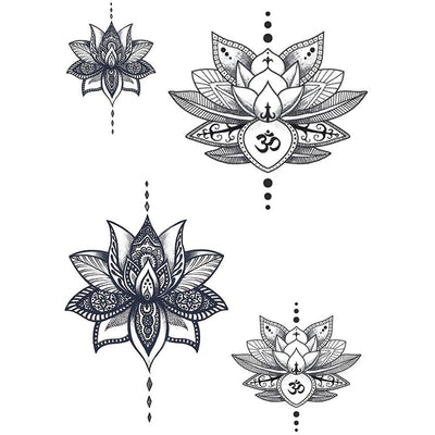 Temporary tattoo - The 4 Lotus - Pack - ArtWear Tattoo - Fake tattoo