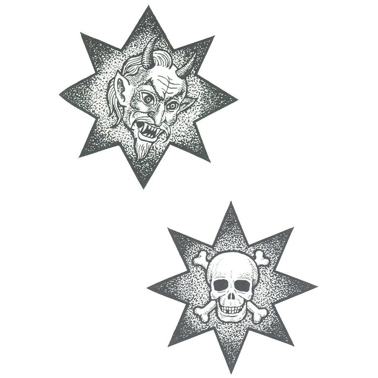Temporary tattoo - Demon & Skull Stars - Pack - ArtWear Tattoo - Fake tattoo