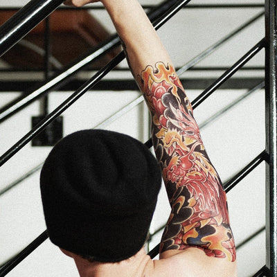 Temporary tattoo - Red Dragon Sleeve - ArtWear Tattoo - Fake tattoo
