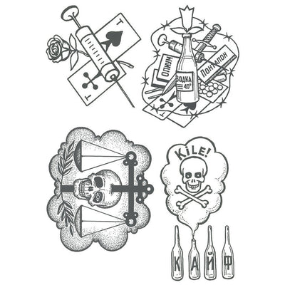 Temporary tattoo - Russian Prison Tattoos - Pack - ArtWear Tattoo - Fake tattoo