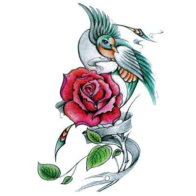 Temporary tattoo - Swallow & Rose - ArtWear Tattoo - Fake tattoo