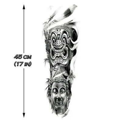 Temporary tattoo - Asian Story Sleeve B&W - ArtWear Tattoo - Fake tattoo