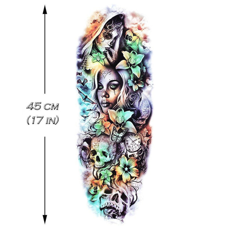 Temporary tattoo - Santa Muerte Sleeve - Color - ArtWear Tattoo - Fake tattoo