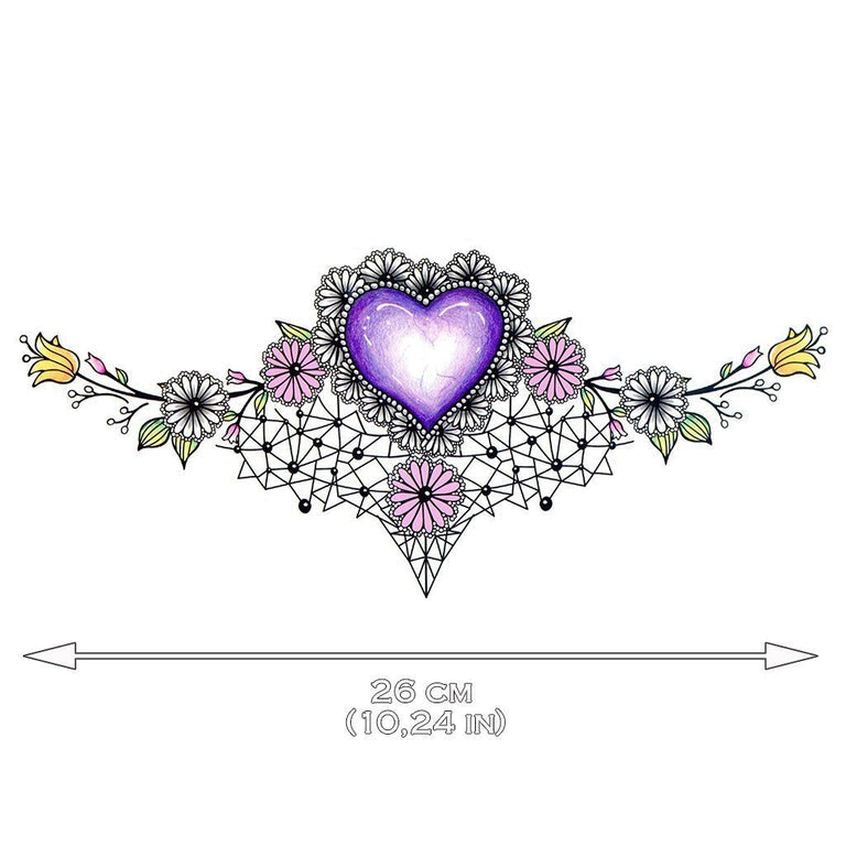 Temporary tattoo - Purple Heart Underboob - ArtWear Tattoo - Fake tattoo