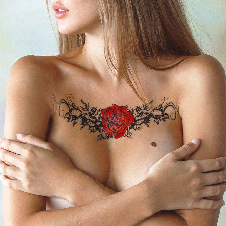 Temporary tattoo - Red Rose Underboob - ArtWear Tattoo - Fake tattoo