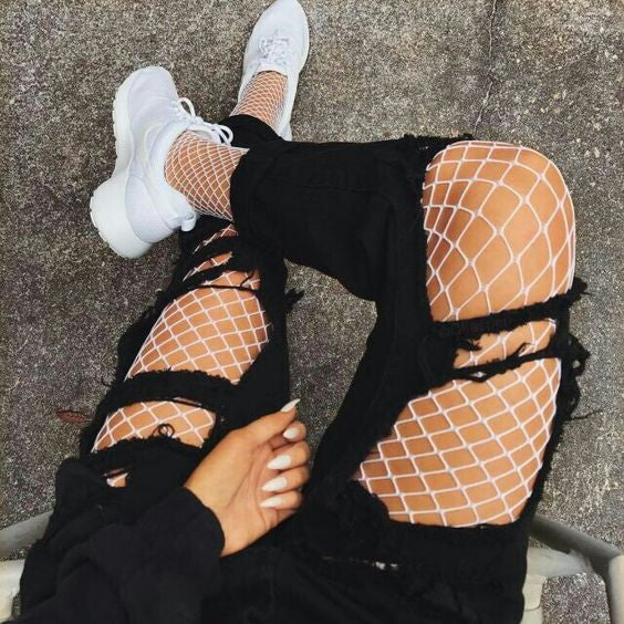 6fdcc58c276 30+Grunge Outfits Ideas  Wear Fishnet Tights Under Ripped Jeans or ...