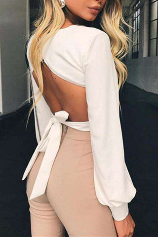 Solid Color Backless Puff Sleeve Beskær Bluse Top