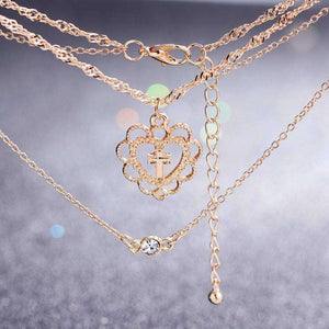 Multi-layer Cross Pendant Studded Alloy Necklace Sets - Lupsona