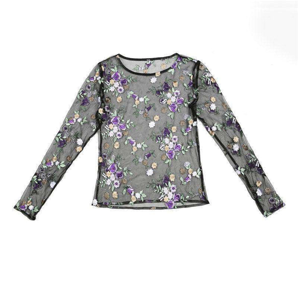 Violet Flower Brodery Sheer Mesh Bluse Top