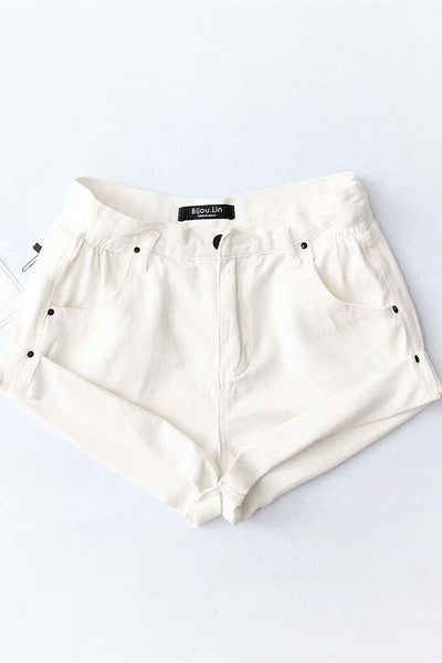5 Cores Casual Rolled Hem Denim Shorts