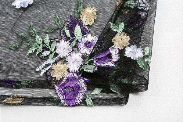 Violet Flower Embroidery Sheer Mesh Blouse Top