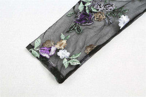 Violet Flower Embroidery Sheer Mesh Blouse Top - Lupsona