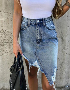 irregular ripped tassels high waisted slim denim skirt - Lupsona