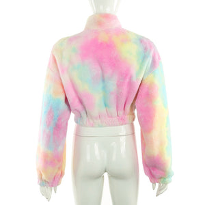 pure white/rainbow lamb wool zipper neck loose sweatshirt
