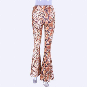 colorful snake printed bell-bottom pants - Lupsona