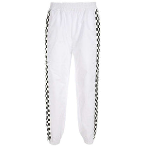 side zipper checkboard printed casual pants - Lupsona