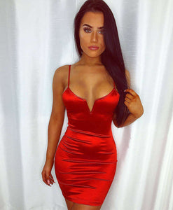 strappy satin solid color deep V bodycon dress - Lupsona