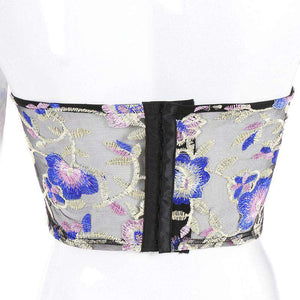 floral embroidery mesh sheer crop top - Lupsona