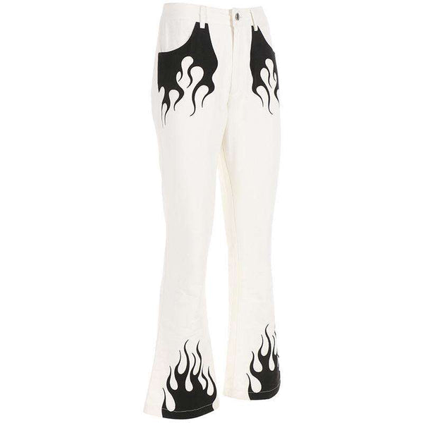 flame printed high waist flare pants - Lupsona