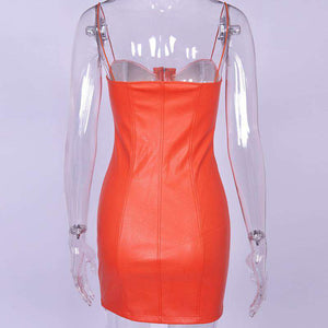 PU Lieder strappy Front Zipper Bodycon Kleed - Lupsona