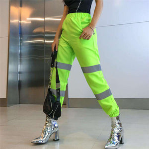 light-reflective decoration patchwork high waist pants