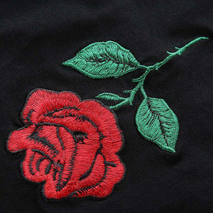 rose embroidery strappy tank top - Lupsona