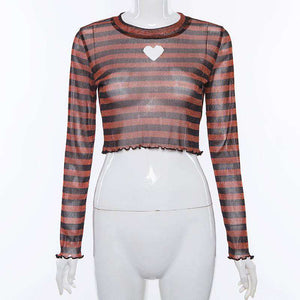 striped sheer heart-shape hollow out crop top - Lupsona