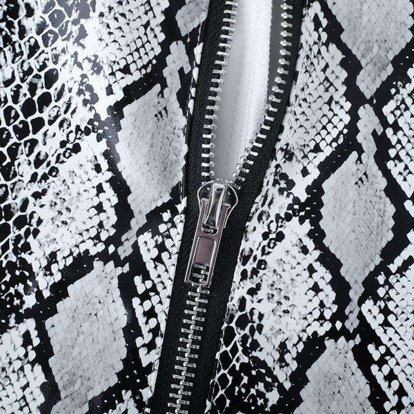 PU leather snake printed front zipper pencil pants