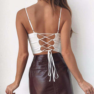 low cut back lace-up strappy top - Lupsona