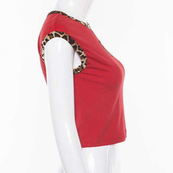 heart-shape leopard patchwork sleeveless crop top - Lupsona