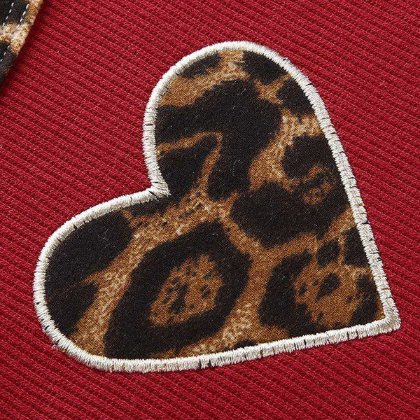 heart-shape leopard patchwork short sleeved top - Lupsona